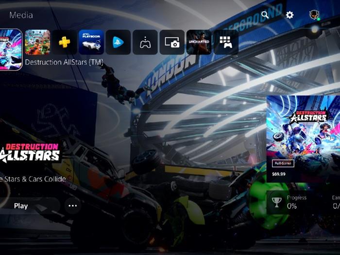 tampilan halaman depan UI baru PS5