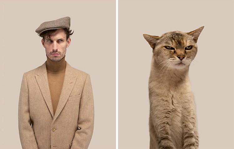 Manusia dan kucing yang mirip
