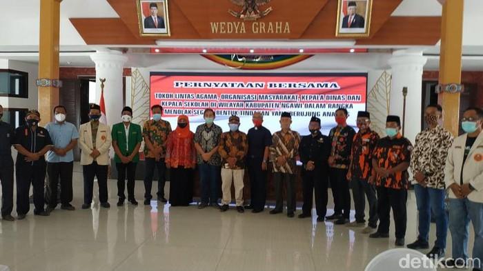 Ormas, Tokoh Agama Dan Pendidikan Ngawi Tolak Anarkis Demo Omnibus Law