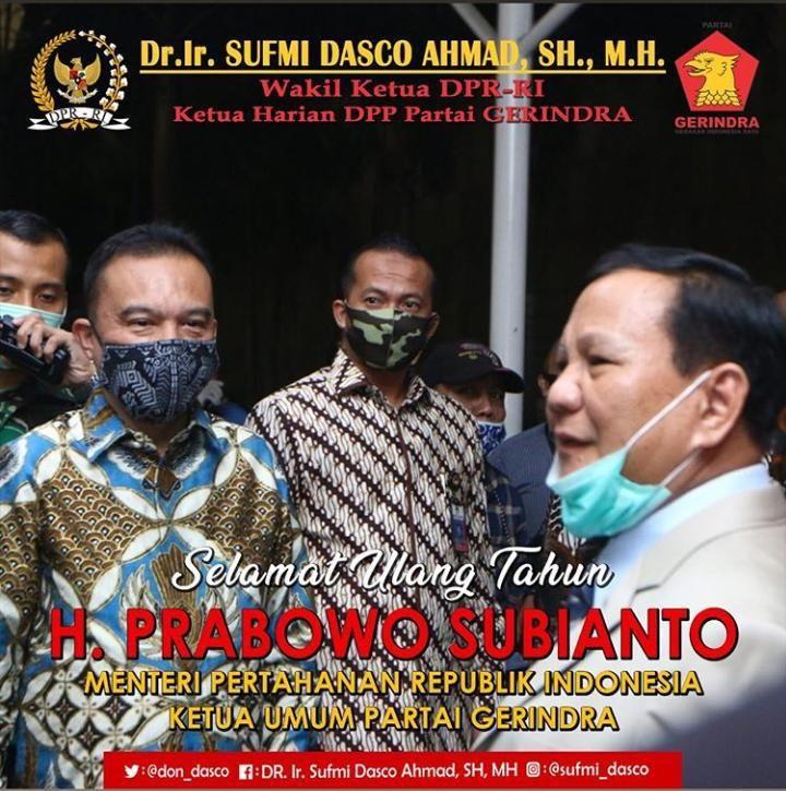 Sufmi Dasco Ahmad ucapkan selamat ulang tahun ke Prabowo Subianto
