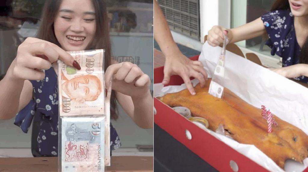 Bukan Kue, Kini Muncul Tren Babi Panggang Isi Uang untuk Ulang Tahun