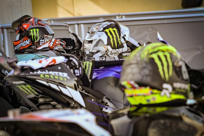 Helm Fabio Quartararo, Maverick Vinales, dan Cal Crutchlow usai kualifikasi MotoGP Aragon 2020.