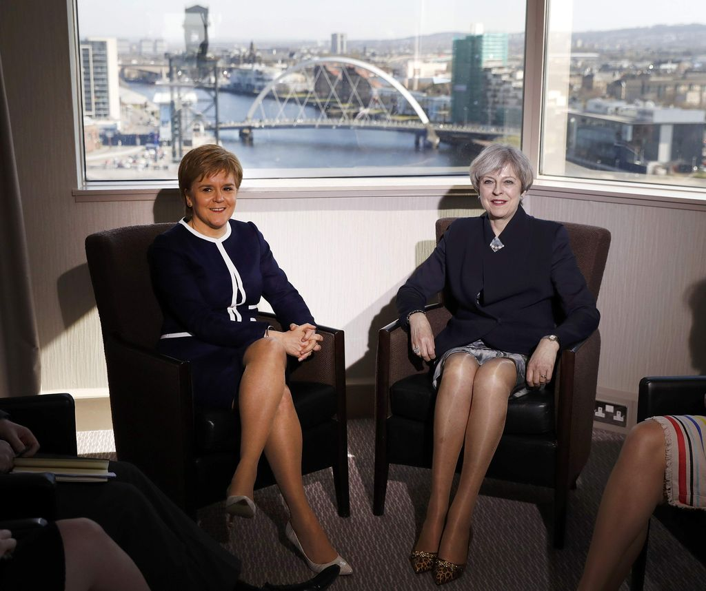 GLASGOW, SCOTLAND - MARCH 27: British Prime Minister Theresa May meets with Scottish First Minister Nicola Sturgeon at the Crown Plaza Hotel on March 27, 2017 in Glasgow, Scotland. The Prime Minister is in Scotland ahead of the triggering of Article 50 later in the week. (Photo by Russell Cheyne - WPA Pool/Getty Images)