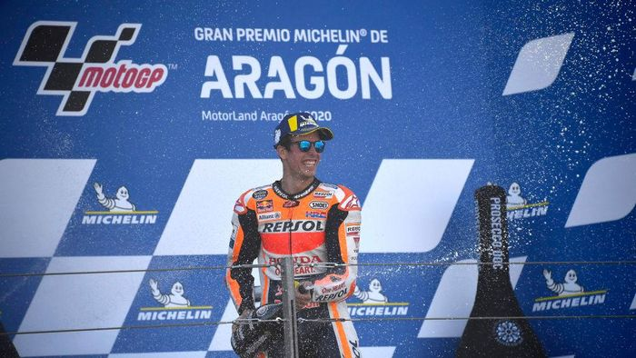ALCANIZ, SPAIN - OCTOBER 18: Alex Marquez of Spain and Repsol Honda Honda celebrates the second place on the podium during the MotoGP race during the MotoGP of Aragon at Motorland Aragon Circuit on October 18, 2020 in Alcaniz, Spain. (Photo by Mirco Lazzari gp/Getty Images)