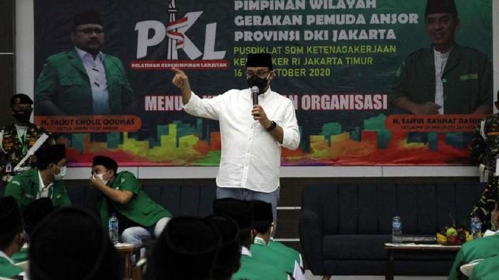 GP Ansor DKI Jakarta gelar Pelatihan Kepemimpinan Lanjutan  (PKL) ke 5. Gubernur DKI Jakarta Anies Baswedan memberi turut memberikan pelatihan di acara tersebut.