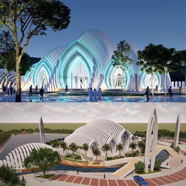 Dalam unggahan itu RD menyertakan sejumlah foto desain masjid. Dari foto-foto itu, Masjid Agung Purwokerto itu dikaitkan dengan masjid Koln di Jerman.