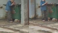 Miris! Kakek Ini Pungut Sisa Makanan dari Tempat Sampah