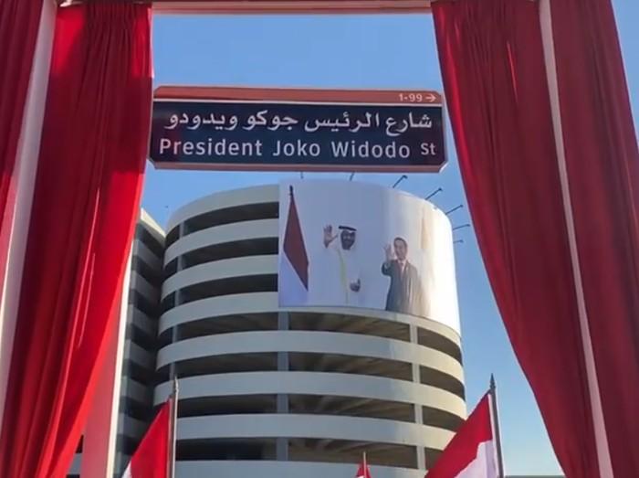 Nama tokoh Indonesia yang menjadi nama jalan di negara sahabat kini bertambah lagi. Presiden Joko Widodo kini punya jalan sendiri di Abu Dhabi.
