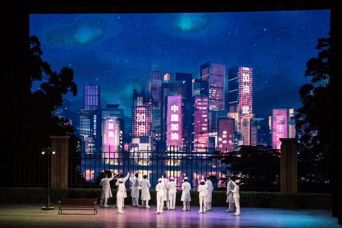 WUHAN, CHINA - OCTOBER 18: (CHINA OUT) The cast play nurses as they perform on stage during the opera