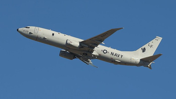 PERTH, AUSTRALIA - APRIL 07:  A US Navy Poseidon P-8 takes off to assist in the search for debris from missing Malaysia Airlines Flight MH370 at Perth International airport on April 7, 2014 in Perth, Australia. Angus Houston confirmed today that the Australian naval vessel Ocean Shield has twice detected signals in the past 24 hours consitent with aircraft black boxes. The airliner disappeared on March 8 with 239 passengers and crew on board and is suspected to have crashed into the southern Indian Ocean.  (Photo by Paul Kane/Getty Images)