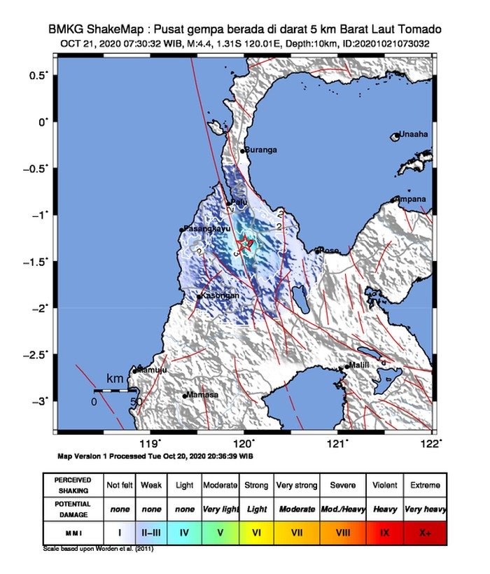 Pusat gempa M 4,4 di Tomado.