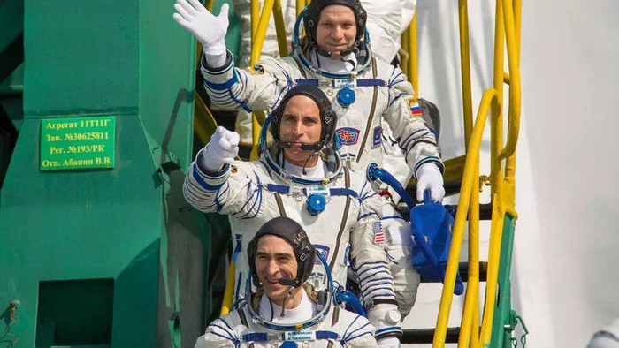 NASA astronaut Chris Cassidy and Russian cosmonauts Anatoly Ivanishin and Ivan Vagner blasted off in April, when much of the world was locked down - Russian Space Agency Roscosmos/AFP/File