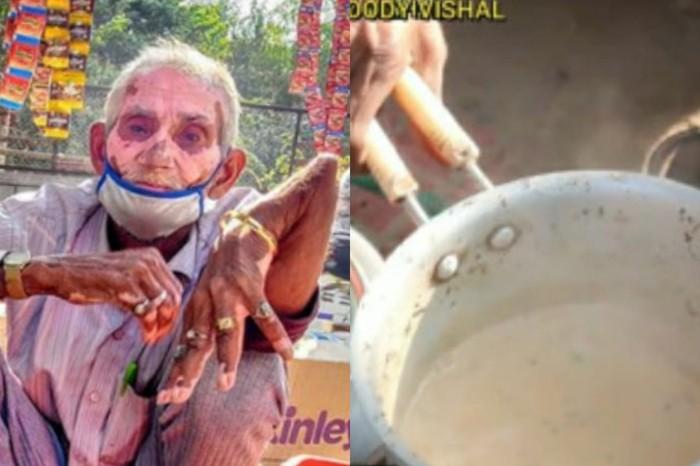 Kakek Tangannya Patah Tapi Masih Jualan Teh di India
