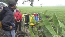 Video Truk Tergelincir Saat Hujan, Nyemplung ke Sawah