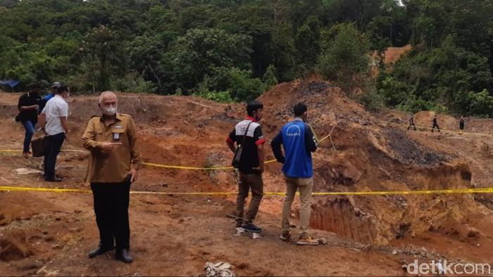 Lokasi longsong tambang batu bara ilegal di Muara Enim, Sumsel