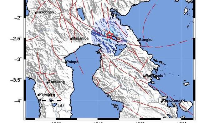 Pusat gempa Luwu TImur