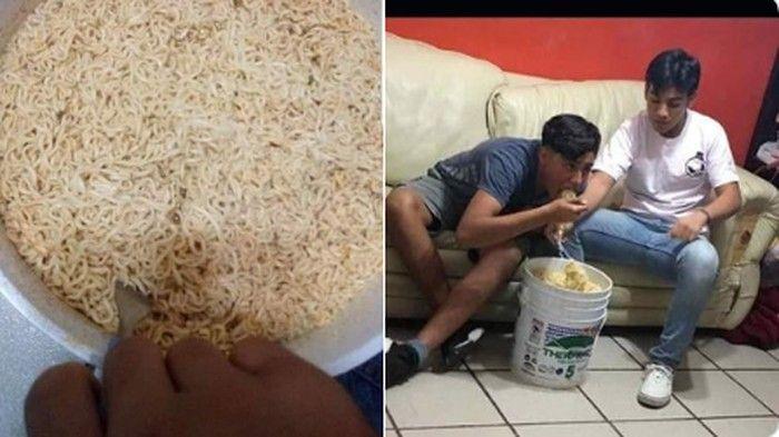 cara makan nyeleneh; makan mie di ember, makan mie langsung di bungkusnya, nasi goreng di plastik