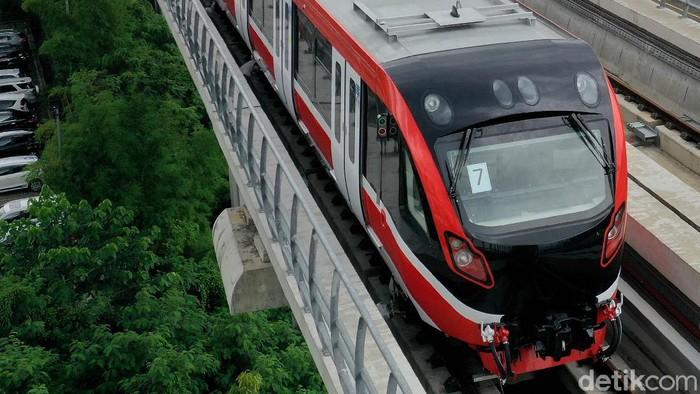Ilustrasi LRT Jabodebek di pemberhentian terakhir stasiun/pool Cibubur.