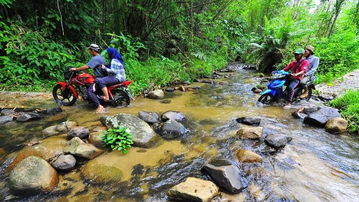 Sejumlah pengendara motor menyeberangi sungai di Jambi. Meski berbahaya, tak sedikit pengendara yang menyeberangi sungai agar dapat tiba di lokasi tujuan.