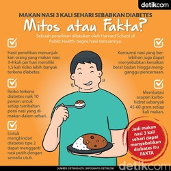 Kena Diabetes Gara-gara Makan Nasi 3 Kali Sehari, Mungkin Nggak Sih?