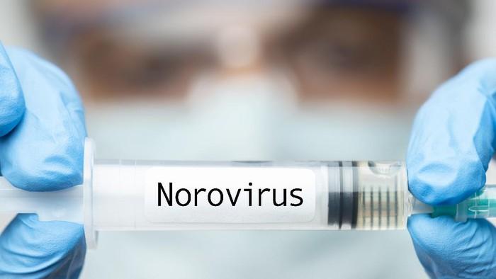 Doctor showing Norovirus vaccine.