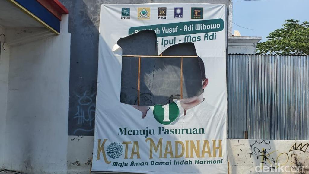 7 Baliho Paslon Pilwali Pasuruan Nomor 01 Dirusak Orang Tak Dikenal