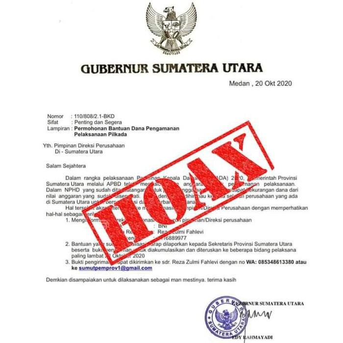 Surat hoax Gubsu minta dana pengamanan Pilkada ke perusahaan (Foto: dok. Pemprov Sumut))