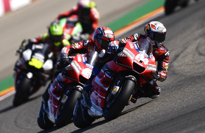 Italys Andrea Dovizioso rides his Ducati during the Aragon Motorcycle Grand Prix at the Motorland circuit in Alcaniz, Spain, Sunday, Oct. 18, 2020. (AP Photo/Jose Breton)