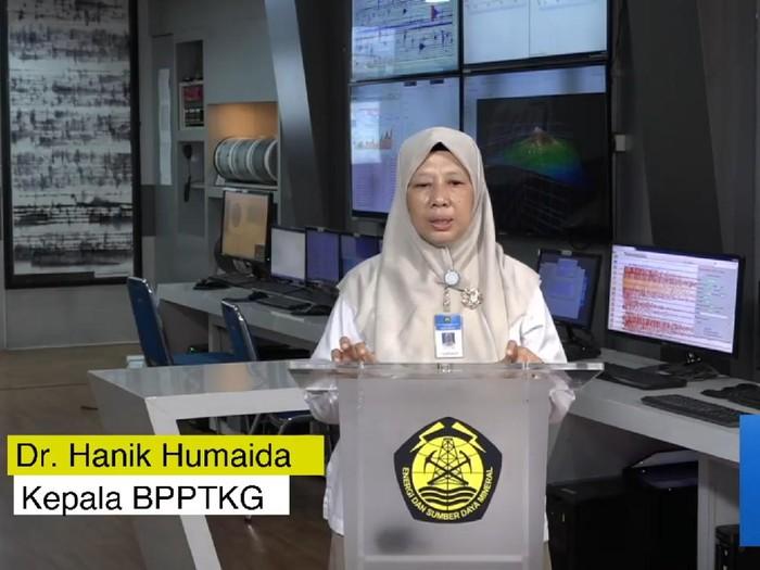 Kepala BPPTKG Yogyakarta Hanik Humaida dalam acara Dasawarsa Merapi Refleksi Merapi 2010 untuk Mitigasi di Masa Pandemi yang digelar virtual, Senin (26/10/2020).