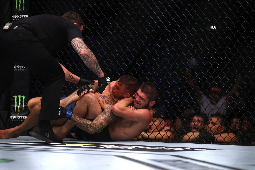 ABU DHABI, UNITED ARAB EMIRATES - SEPTEMBER 07: Khabib Nurmagomedov of Russia compete against Dustin Poirier of United States in their Lightweight Title Bout during the UFC 242 event at The Arena on September 07, 2019 in Abu Dhabi, United Arab Emirates. (Photo by Francois Nel/Getty Images)