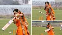 Foto Prewedding Atlet Kriket Ini Jadi Viral, Main Kriket Pakai Baju Pengantin