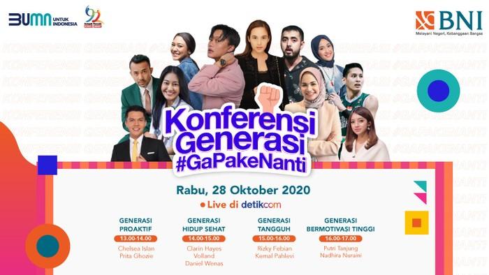 Dalam momen Sumpah Pemuda pada 28 Oktober, detikcom bersama dengan Bank Negara Indonesia mengadakan acara virtual talkshow Konferensi Generasi #GaPakeNanti.