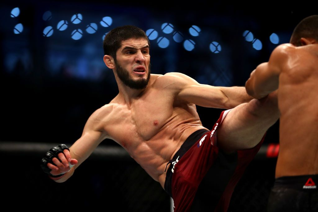 ABU DHABI, UNITED ARAB EMIRATES - SEPTEMBER 07: Islam Makhachev of Russia compete against Davi Ramos of Brazil in their Lighhtweight Boutduring the UFC 242 event at The Arena on September 07, 2019 in Abu Dhabi, United Arab Emirates. (Photo by Francois Nel/Getty Images)