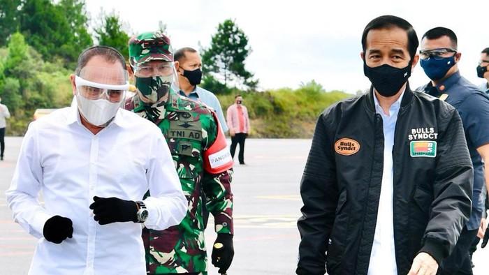 Presiden Jokowi melakukan kunjungan kerja ke Provinsi Sumut, Selasa (27/10/2020). Gubernur Sumut (Gubsu) Edy Rahmayadi mendampingi Jokowi selama kunker.
