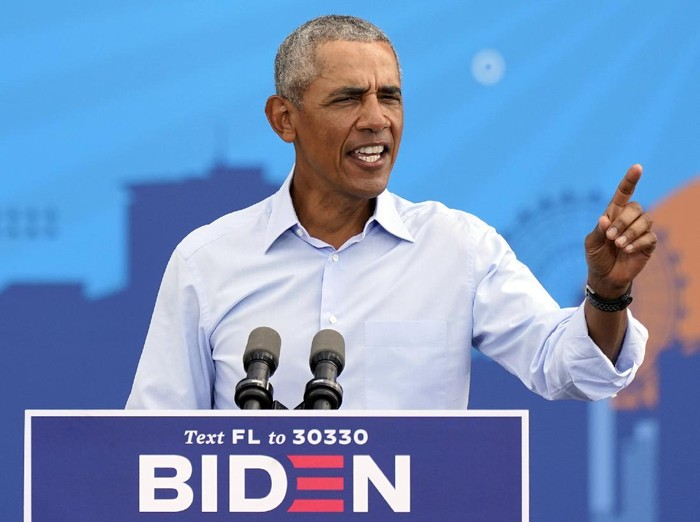 Former President Barack Obama speaks at a rally as he campaigns for Democratic presidential candidate former Vice President Joe Biden Tuesday, Oct. 27, 2020, in Orlando, Fla. (AP Photo/John Raoux)