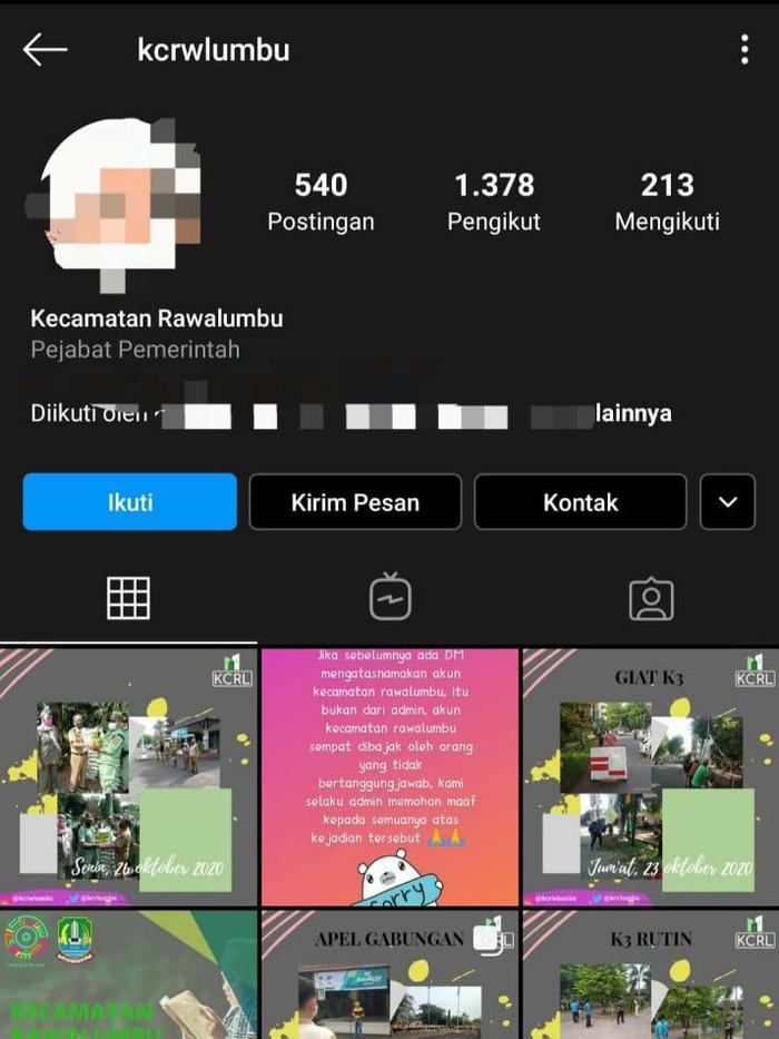 Foto profil IG Kecamatan Rawalumbu dibajak (tangkapan layar)