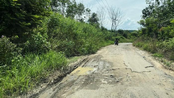 Kondisi Jalan Provinsi di Lampung memperihatinkan. Jalan tersebut rusak dan bergelobang.