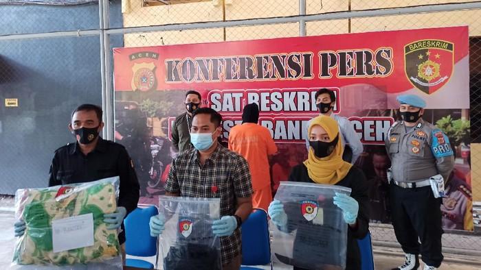 Konferensi pers di Polresta Banda Aceh (Agus Setyadi-detikcom)