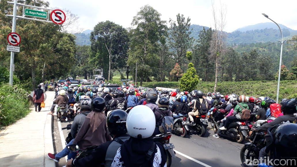 Kondisi lalu lintas di Jalan Raya Puncak Bogor.