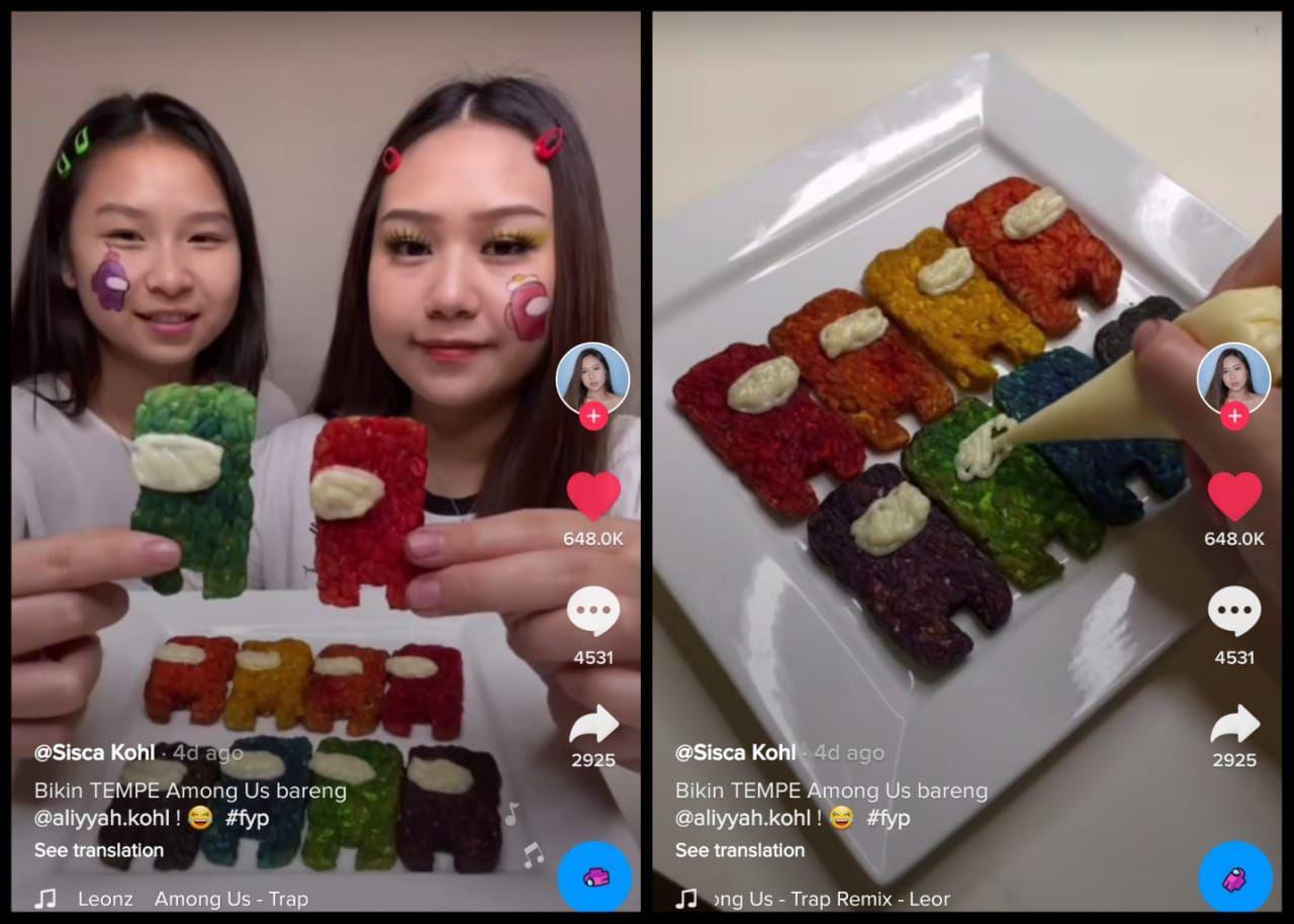 Kreatif! Netizen Ini Bikin Tempe 'Among Us' Warna-warni
