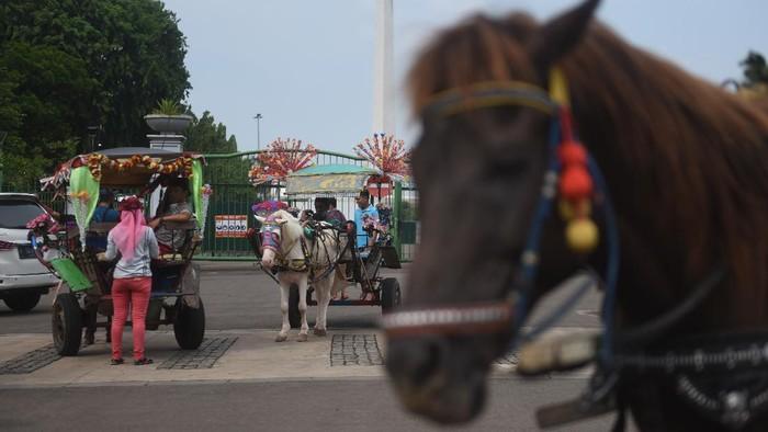 Kusir delman di Ibu Kota kerap kebagian rezeki saat momen libur panjang karena ramainya wisatawan. Namun, pandemi Corona turut beri dampak pada pemasukan mereka