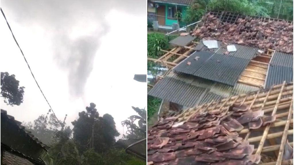 Puting Beliung Terjang Sukabumi Terekam Kamera Warga