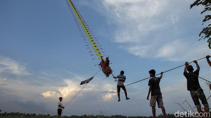 Sebuah layang-layang berukuran raksasa menarik perhatian warga di kawasan Bantul. Layang-layang itu mampu mengangkat manusia ke udara.