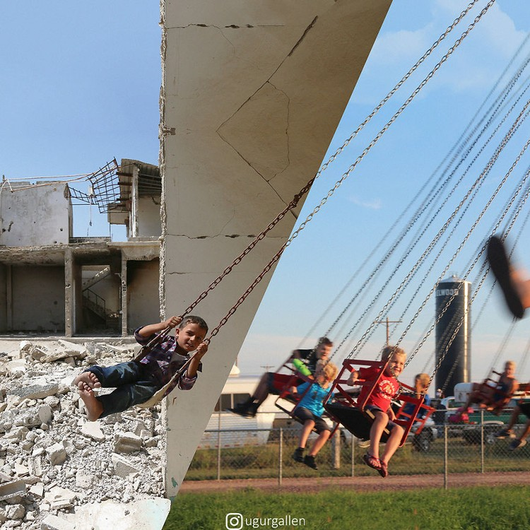 Gabungan dua foto kontras