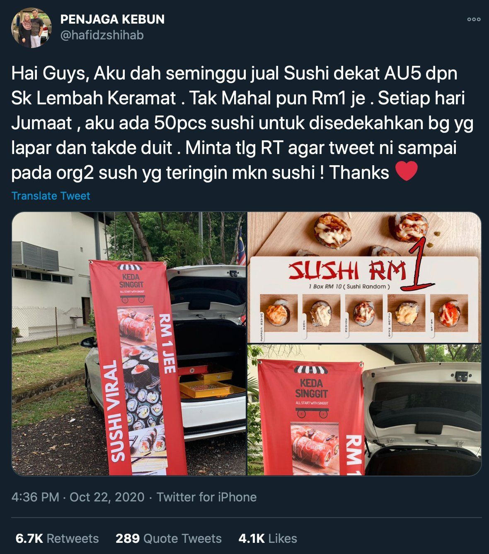 Mulia! Penjual Sushi Ini Sumbangkan 50 Buah Sushi Tiap Jumat