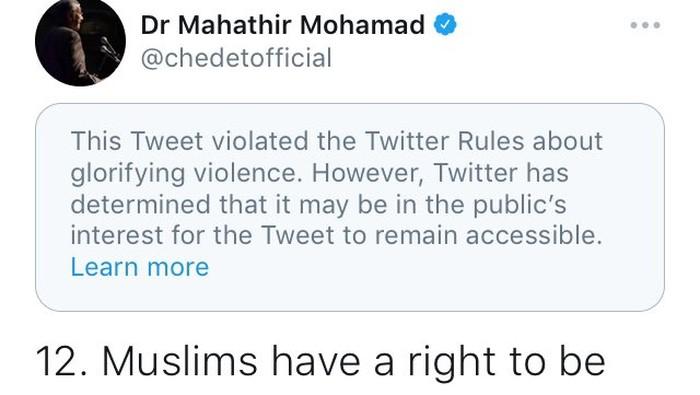 Tweet Mahathir Soal Prancis Dihapus Twitter