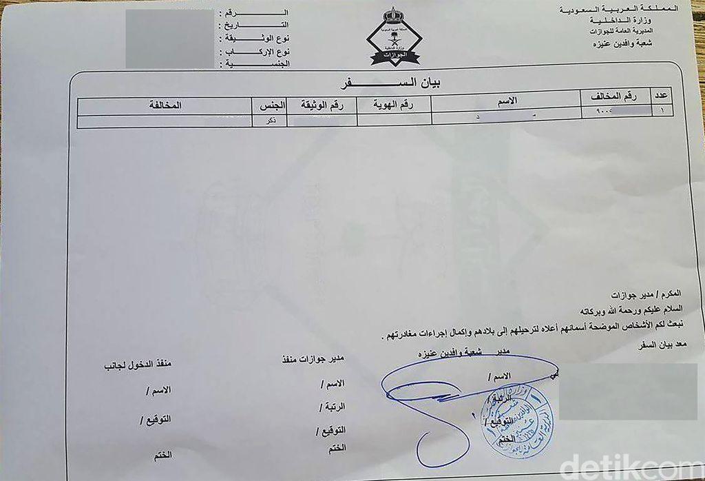 Bayan safar atau izin keluar yang dikeluarkan Kerajaan Arab Saudi dalam rangka deportasi WN asing (dok Istimewa)