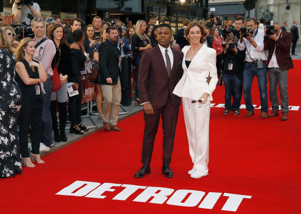 LONDON, ENGLAND - AUGUST 16:  (L-R) John Boyega and director Kathryn Bigelow arrive at the 'Detroit' European Premiere at The Curzon Mayfair on August 16, 2017 in London, England.  (Photo by Tristan Fewings/Getty Images)