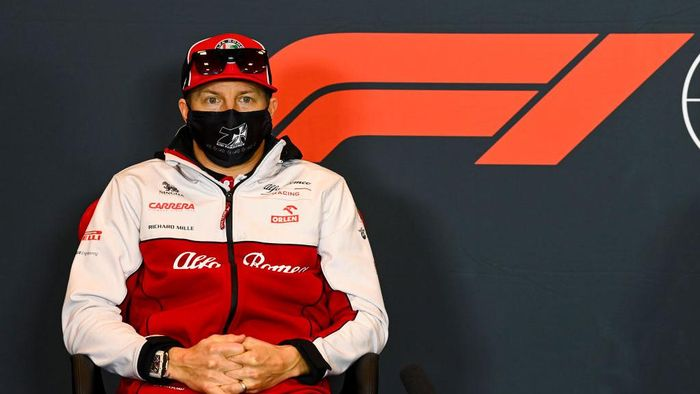 IMOLA, ITALY - OCTOBER 30: Kimi Raikkonen of Finland and Alfa Romeo Racing talks in the Drivers Press Conference  during previews ahead of the F1 Grand Prix of Emilia Romagna at Autodromo Enzo e Dino Ferrari on October 30, 2020 in Imola, Italy. (Photo by Mark Sutton - Pool/Getty Images)
