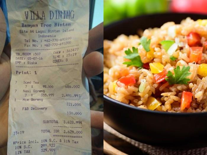 Makan Nasi Goreng dan Es Teh Buatan Hotel, Netizen Ini Habiskan Rp 2 Juta!